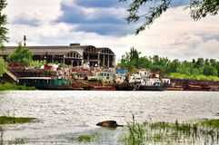 Bank of the Kuban river and cargo port Royalty Free Stock Photos