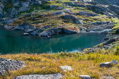 Bank of lake in the Altai mountains, Russia Royalty Free Stock Photography