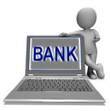 Bank On Laptop Shows Internet Or Electronic Banking Online Stock Image