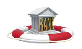 Bank with lifebuoy Royalty Free Stock Photos