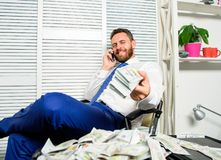 Bank loan or credit. Get cash in few minutes. Banking support line concept. Man successful businessman phone. Conversation ask service. Businessman rich bearded royalty free stock images