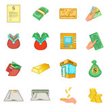 Bank loan credit icons set, cartoon style Royalty Free Stock Image
