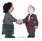 Bank loan deal. Business deal couple shaking hands Royalty Free Stock Image