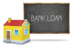 Bank loan text on blackboard with 3d house Royalty Free Stock Photo