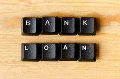 Bank loan word. With keyboard buttons stock photos