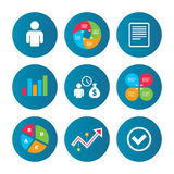 Bank loans icons. Fill document and get money. Stock Photos
