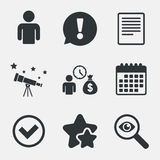 Bank loans icons. Fill document and get money. Royalty Free Stock Photography