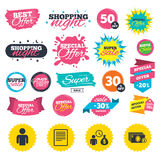 Bank loans icons. Fill document and get money. Sale shopping banners. Bank loans icons. Cash money bag symbol. Apply for credit sign. Fill document and get cash vector illustration