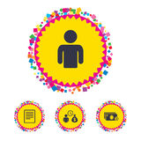 Bank loans icons. Fill document and get money. Royalty Free Stock Photos