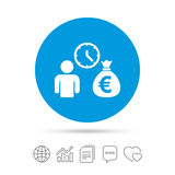 Bank loans sign icon. Get money fast symbol. Borrow money. Copy files, chat speech bubble and chart web icons. Vector Stock Image