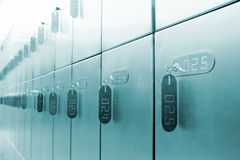 Bank Lockers. Rows of private bank lockers with tagged keys Stock Image