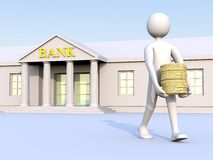 Bank & man & money 1. A man going out of a bank with coins