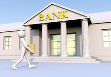 Bank & man & money 2. Man geting into a bank with money (coins) in his hands Stock Photography