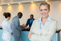Bank manager with customers Stock Photos