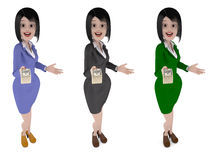 Bank Manager girl offers to take the money Royalty Free Stock Photos