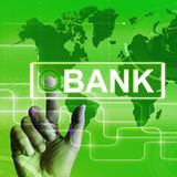 Bank Map Displays Online and Internet Banking Stock Photo