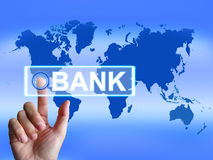 Bank Map Indicates Online and Internet Banking Stock Images