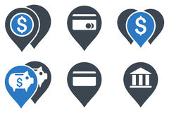 Bank Map Markers Flat Glyph Icons Royalty Free Stock Photos