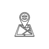 Bank map pointer line icon, mobile gps navigation Stock Photo