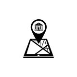 Bank map pointer solid icon, mobile gps navigation Stock Photos