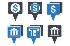 Bank Map Pointers Flat Glyph Icons Stock Images