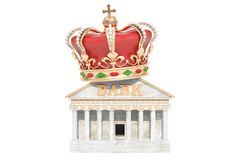 Bank med den kungliga kronan, tolkning 3D vektor illustrationer