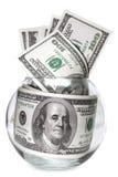 Bank met de bankbiljetten van de Dollar die op Wit worden geïsoleerd Stock Fotografie