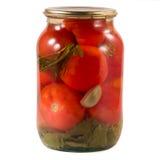 Bank met gemarineerde tomaten Stock Afbeelding