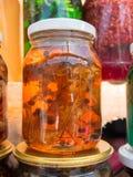 Bank met honing en bladeren Stock Foto