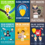 Bank Mini Poster Set Royalty Free Stock Photo