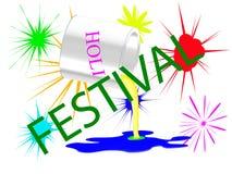 Bank mit Farbe für Holi-Festival stock abbildung