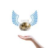Bank mit Münzen fliegen in der Hand Lizenzfreie Stockbilder