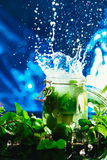 Bank mojito with lime and mint ice cube falling splash Stock Images