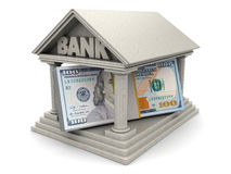 Bank and money. 3d illustration of dollars inside bank building Stock Photo