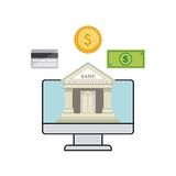Bank and money design. Bank icon on computer screen and money items around over white background. vector illustration Stock Photography