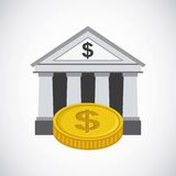 Bank and money design. Bank icon and gold coin over white background. vector illustration Royalty Free Stock Photos