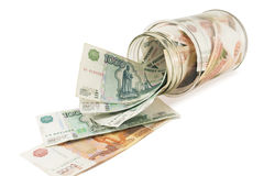Bank with money, dollars  and euros Royalty Free Stock Image