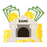 Bank and Money Flat Icon Isolated on White Royalty Free Stock Photos