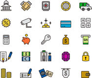 Bank and money icons. Colorful set of icons relating to banking and money on white background Stock Photos