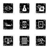 Bank and money icons set, grunge style Stock Photos