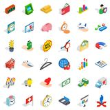 Bank money icons set, isometric style. Bank money icons set. Isometric set of 36 bank money vector icons for web isolated on white background Stock Photo