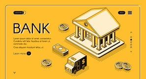 Bank money isometric halftone vector illustration. Bank and money isometric thin line vector illustration of dollar money and cash CIT van. Business and banking vector illustration