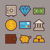 Bank and Money Items Modern Flat Icons Set. Vector Bank and Money Items Modern Flat Icons Set. Banking and Finance App Web Elements Collection. Earnings and Royalty Free Stock Images