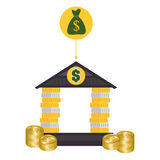 Bank, money and online payment. Graphic design,  illustration eps10 Royalty Free Stock Photo