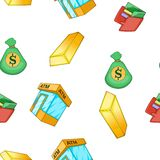 Bank and money pattern, cartoon style. Bank and money pattern. Cartoon illustration of bank and money vector pattern for web Stock Image