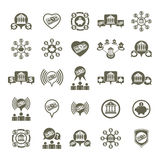 Bank and money theme vector unusual icons set, financial theme. Vector creative symbols collection Stock Images