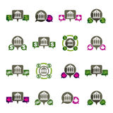 Bank and money theme vector unusual icons set, financial theme v. Ector creative symbols collection Royalty Free Stock Images
