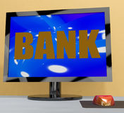 Bank On Monitor Shows Online Or Electronic Banking Stock Photography