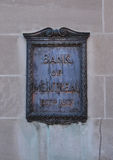 Bank of Montreal plaque Royalty Free Stock Image