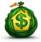 Bank Mortgage. Symbol as a green money bag with a house or home icon with a dollar signs a financial and economic metaphor for residential credit and real Stock Photo